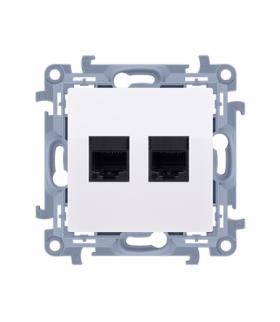 Gniazdo komputerowe podwójne RJ45 kategoria 5e biały C52.01/11