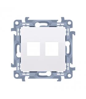 Pokrywa gniazd teleinformatycznych na Keystone płaska podwójna biały CKP2.01/11