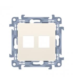 Pokrywa gniazd teleinformatycznych na Keystone płaska podwójna kremowy CKP2.01/41