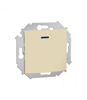 Łącznik jednobiegunowy z podświetleniem LED nie wymienialny kolor: czerwony (moduł) 16AX 250V, zaciski śrubowe, beżowy 1591104-0