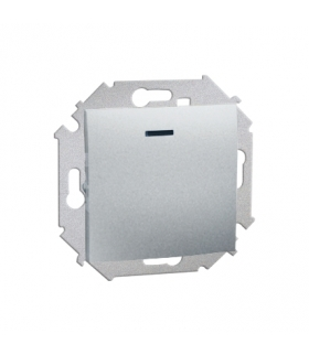 Łącznik jednobiegunowy z podświetleniem LED nie wymienialny kolor: czerwony (moduł) 16AX 250V, zaciski śrubowe, aluminiowy, meta