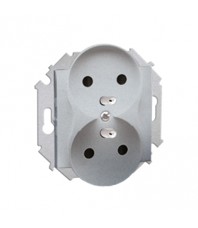 Gniazdo wtyczkowe podwójne z uziemieniem aluminiowy, metalizowany 16A 1591462-026