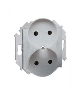 Gniazdo wtyczkowe podwójne bez uziemienia aluminiowy, metalizowany 16A 1591464-026