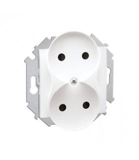 Gniazdo wtyczkowe podwójne bez uziemienia z przesłonami torów prądowych biały 16A 1591463-030