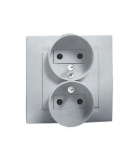 Gniazdo wtyczkowe podwójne z uziemieniem z przesłonami aluminiowy, metalizowany 16A 1591451-026