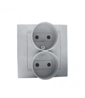 Gniazdo wtyczkowe podwójne bez uziemienia aluminiowy, metalizowany 16A 1591457-026