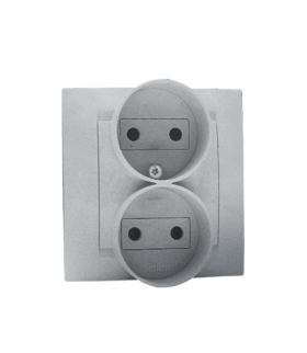 Gniazdo wtyczkowe podwójne bez uziemienia z przesłonami torów prądowych aluminiowy, metalizowany 16A 1591452-026