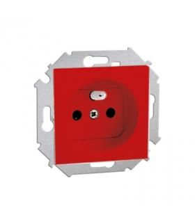 Gniazdo wtyczkowe pojedyncze z uziemieniem z przesłonami czerwony 16A 1591418-037