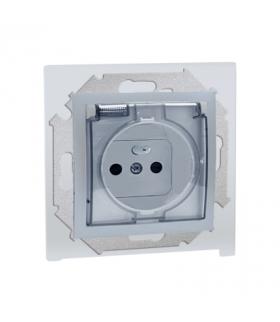 Gniazdo wtyczkowe pojedyncze do wersji IP44 z przesłonami torów prądowych - z uszczelką - klapka w kolorze transparentnym alumin