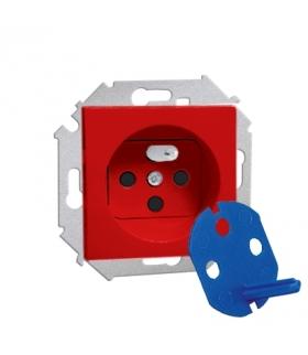 Gniazdo wtyczkowe pojedyncze DATA z kluczem uprawniającym czerwony 16A 1591460-037