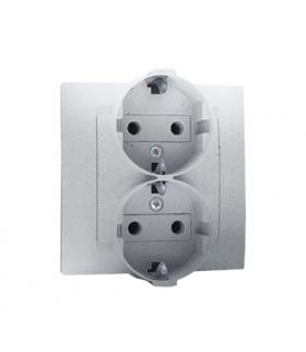 Gniazdo wtyczkowe podwójne z uziemieniem typu Schuko aluminiowy, metalizowany 16A 1591459-026
