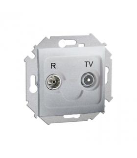 KONIEC PRODUKCJI - DOSTEPNY DO WYCZERPANIA STANÓW MAGAZYNOWYCH gniazdo antenowe R-TV przelotowe tłum.:14dB aluminiowy, metalizow
