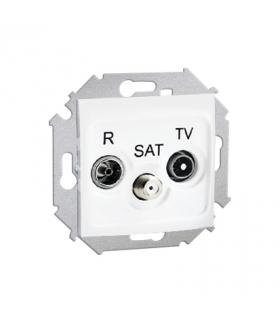 Gniazdo antenowe R-TV-SAT przelotowe tłum.:10dB biały 1591467-030