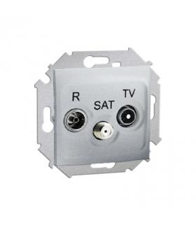 Gniazdo antenowe R-TV-SAT przelotowe tłum.:10dB aluminiowy, metalizowany 1591467-026