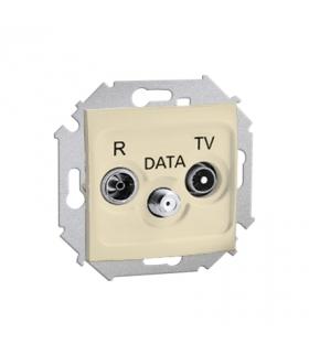 Gniazdo antenowe R-TV-DATA tłum.:10dB beżowy 1591048-031