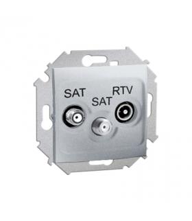 Gniazdo antenowe SAT-SAT-RTV satelitarne podwójne tłum.:1dB aluminiowy, metalizowany 1591038-026