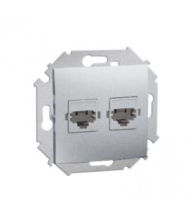 Gniazdo telefoniczne podwójne RJ11 aluminiowy, metalizowany 1591589-026