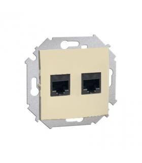 Gniazdo komputerowe podwójne RJ45 kategoria 5e beżowy 1591552-031