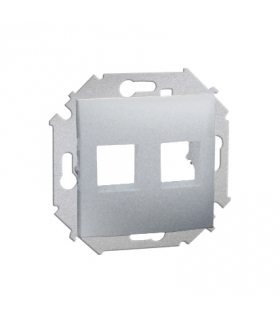 Pokrywa gniazd teleinformatycznych na Keystone płaska podwójna aluminiowy, metalizowany 1591530-026