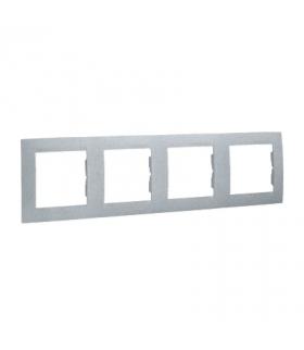 Ramka 4- krotna aluminiowy, metalizowany 1501640-026