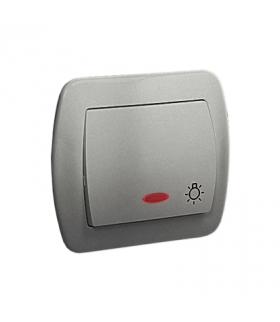"""Przycisk """"światło"""" z podświetleniem aluminiowy, metalizowany 10AX AS1L/26"""