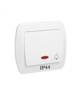 """Przycisk """"dzwonek"""" z podświetleniem bryzgoszczelny biały 10AX AD1BL/11"""