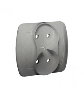 Gniazdo wtyczkowe podwójne bez uziemienia aluminiowy, metalizowany 16A AG2/26