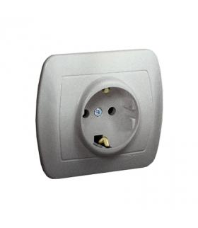 Gniazdo wtyczkowe pojedyncze z uziemieniem typu Schuko aluminiowy, metalizowany 16A AGSZ1E/26