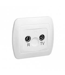 Gniazdo antenowe R-TV przelotowe tłum.10dB biały AA10/11