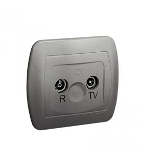 Gniazdo antenowe R-TV przelotowe tłum.10dB aluminiowy, metalizowany AA10/26
