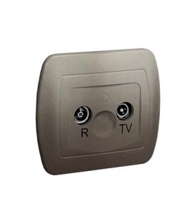 Gniazdo antenowe R-TV przelotowe tłum.10dB satynowy, metalizowany AA10/29