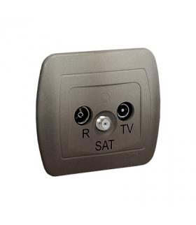 Gniazdo antenowe R-TV-SAT końcowe/zakończeniowe tłum.1dB satynowy, metalizowany AAS/29