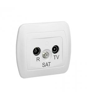 Gniazdo antenowe R-TV-SAT przelotowe tłum.10dB biały AASP/11