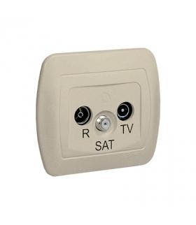 Gniazdo antenowe R-TV-SAT przelotowe tłum.10dB beżowy AASP/12