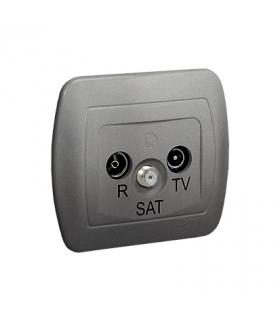 Gniazdo antenowe R-TV-SAT przelotowe tłum.10dB aluminiowy, metalizowany AASP/26