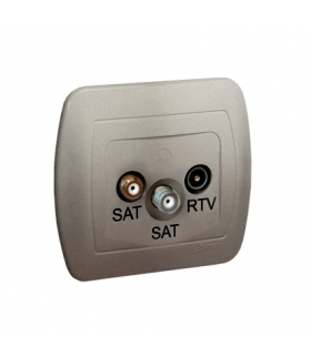 Gniazdo antenowe SAT-SAT-RTV satelitarne podwójne tłum.1dB satynowy, metalizowany AZAR+SAT3.1-P2/29