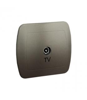 Gniazdo antenowe TV pojedyncze końcowe satynowy, metalizowany AAK3/29