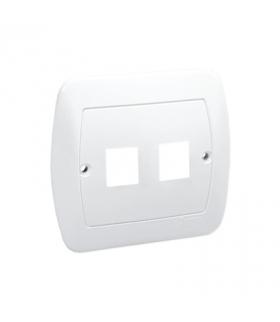 Pokrywa gniazd teleinformatycznych na Keystone płaska podwójna biały PL-999/11