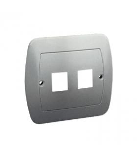 Pokrywa gniazd teleinformatycznych na Keystone płaska podwójna aluminiowy, metalizowany PL-999/26