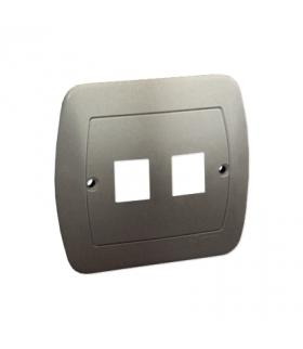 Pokrywa gniazd teleinformatycznych na Keystone płaska podwójna satynowy, metalizowany PL-999/29