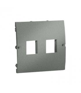 Pokrywa gniazd teleinformatycznych na Keystone płaska podwójna grafitowy, metalizowany MGK1P/25