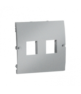 Pokrywa gniazd teleinformatycznych na Keystone płaska podwójna aluminiowy, metalizowany MGK1P/26