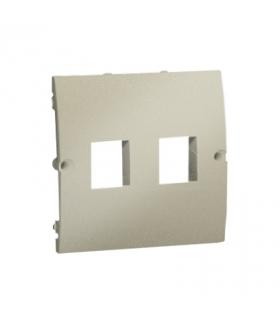 Pokrywa gniazd teleinformatycznych na Keystone płaska podwójna platynowy, metalizowany MGK1P/27