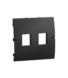 Pokrywa gniazd teleinformatycznych na Keystone płaska podwójna grafit mat, metalizowany MGK1P/28