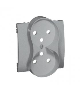Pokrywa do gniazda wtyczkowego podwójnego z uziemieniem - przesłony torów prądowych aluminiowy, metalizowany MGZ2MZP/26