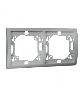 Ramka 2- krotna aluminiowy, metalizowany MR2/26