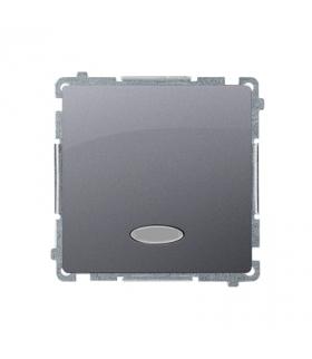 Łącznik jednobiegunowy z podświetleniem LED nie wymienialny kolor niebieski (moduł) 10AX 250V, szybkozłącza, inox, metalizowany