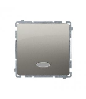 Łącznik jednobiegunowy z podświetleniem LED nie wymienialny kolor niebieski (moduł) 10AX 250V, szybkozłącza, satynowy, metalizow