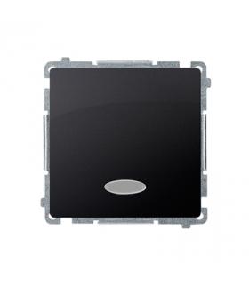 Łącznik jednobiegunowy z podświetleniem LED nie wymienialny kolor niebieski (moduł) 10AX 250V, szybkozłącza, grafit mat, metaliz