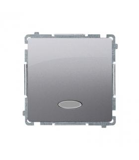 Łącznik jednobiegunowy z podświetleniem LED nie wymienialny kolor niebieski (moduł) 10AX 250V, szybkozłącza, srebrny mat, metali